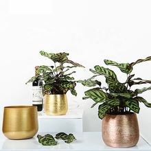 Home & Garden decorative Metal flower pot iron planter pot steel bonsai pot gold