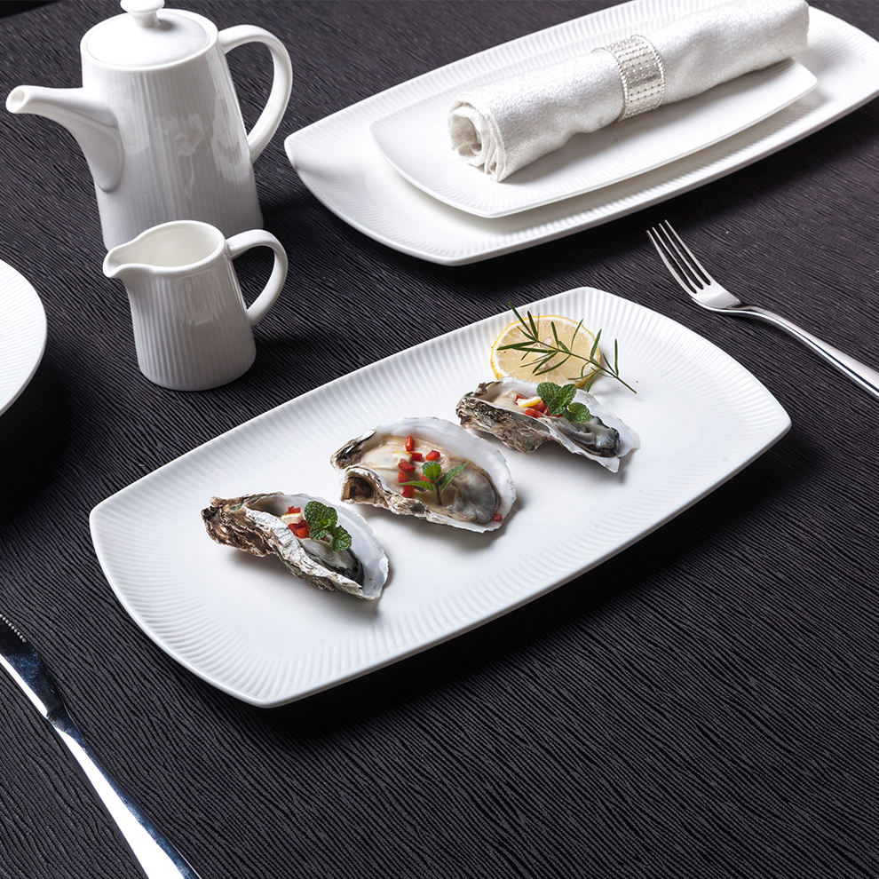 High Quality Ceramic Platter For Hotel White Glossy Crockery Rectangle Serving Dishes