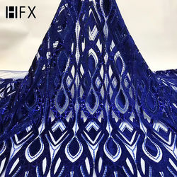 HFX Latest in 2019 Nigerian African Sequin Lace Royal Blue Velvet French Tulle Lace Fabric for Wedding Party