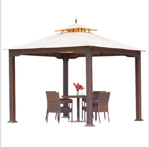 Green all weather pe rattan outdoor canvas gazebo