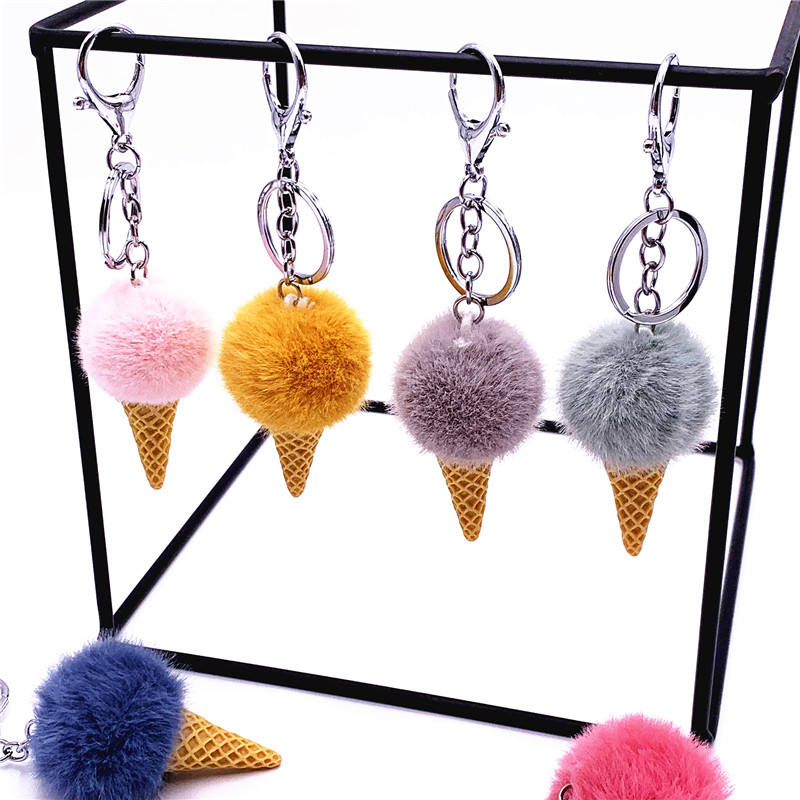 Multicolor Fur Pompom Keychain Ice Cream Key Chains Custom Key Holder
