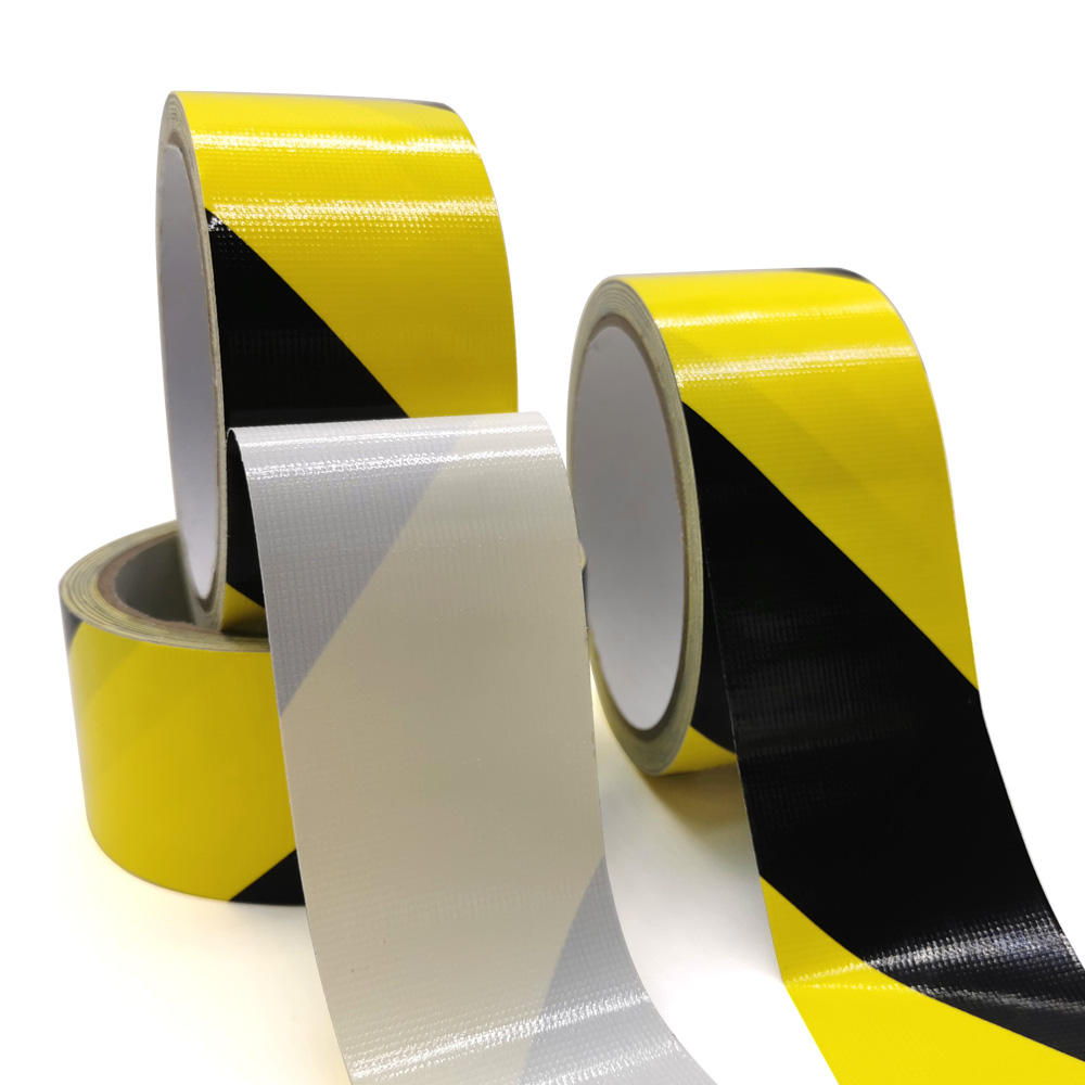 Hazard black yellow coloured warning barrier tape custom self adhesive road floor marking caution tape