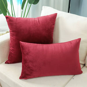 Polyester Velvet Cushion Cover Fabric, Soft Red Pillow Covers /