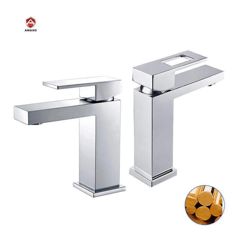Popular deck mounted square design cold hot water wash basin faucet bathroom tap