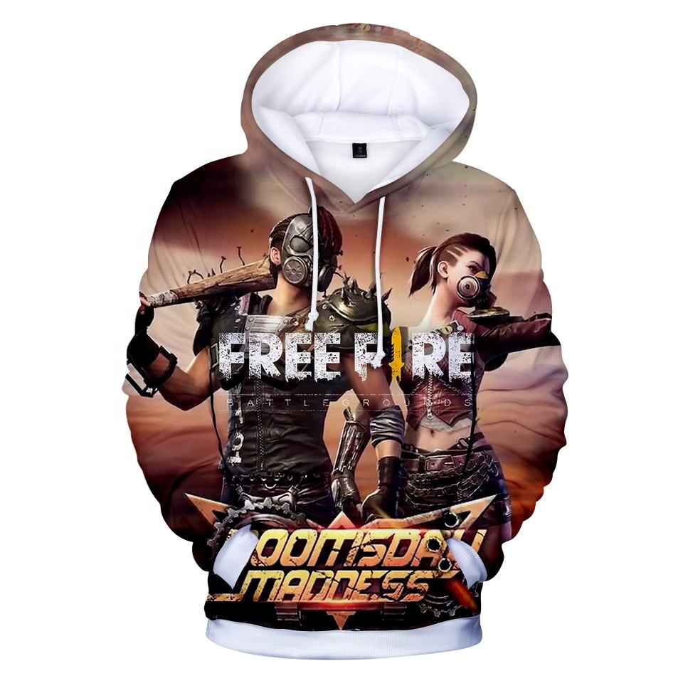 2019 New design top sale 3d printed free fire hoodie Wholesale stock no moq 3d hoodie printed in game of free fire