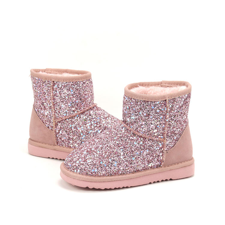 Classic Style Winter Warm Indoor Outdoor Sequins Comfortable Cute Bling Bling Sparkle Glitter Ankle Kids Boots