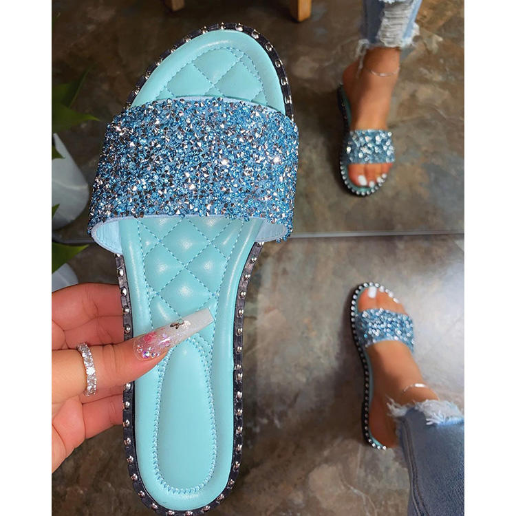 Women Summer Flat Bling Slippers Soft Jelly Shoes Female Outdoor Beach Ladies Slides Sandals