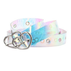 Famous Brand Colorful Belt Women, Plastic Material Heart Buc