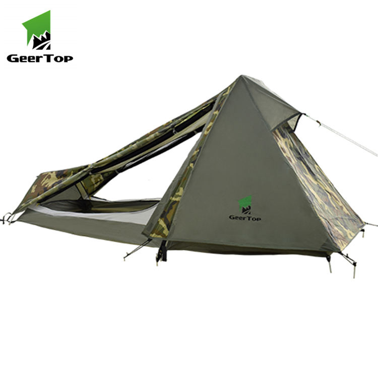 Geertop 1 person 3 season back packing camouflage military tent for hunting
