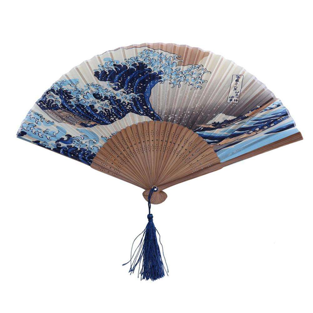 Vintage Style Silk Folding Fan Chinese Japanese Pattern Art Craft Gift Home Decoration Ornaments Dance Hand Fan
