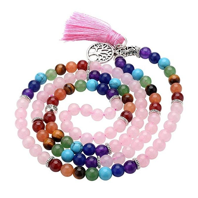 7 Chakra Mala Prayer Rosary Beads 108 Meditation Healing Multilayer Tree of Life Tassel Charm Rose Quartz Bracelet Necklace