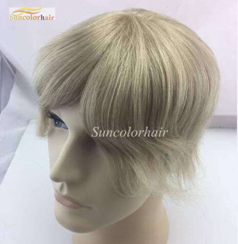 613 color all french lace human hair toupee for men blonde hair wig for men in stock