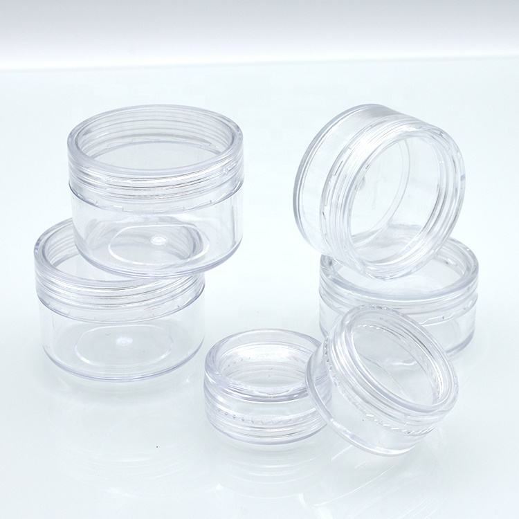 In Stock cheap price 2.5ml 3ml 5ml 10ml 15ml 20ml 15g 2g 2.5g 3g 5g 20g 10g Round plastic Clear Jars with clear Screw Cap Lids