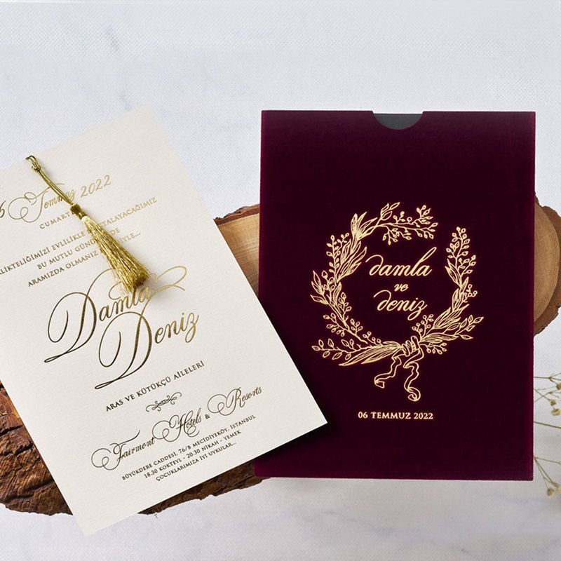Wholesale Luxurious velvet pocket style wedding invitation card with custom design