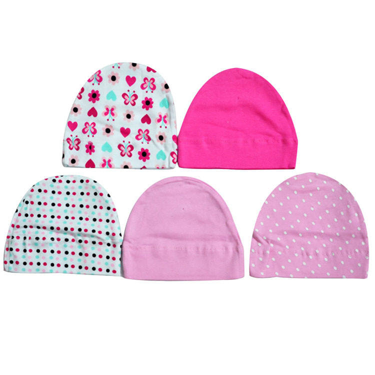 5in1 Set Baby Hat Cotton Printing Caps Toddler Boy Girl Infant Beanie Hat Child Hats Newborn Caps