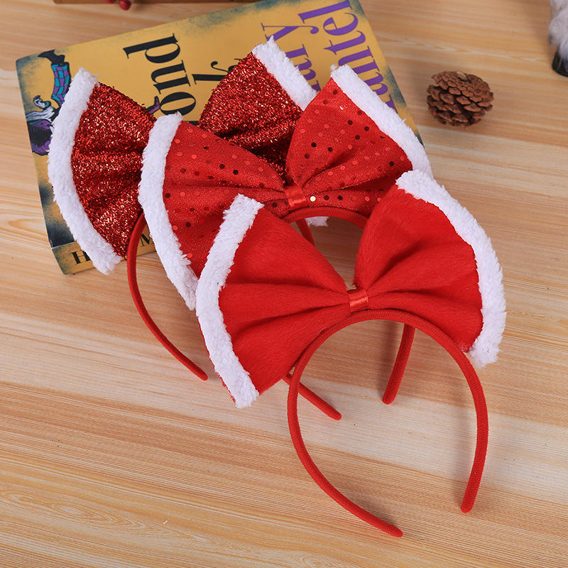Christmas Ball Dress Accessories Children's Birthday Party Hat Hair Band Korean Version Bow Princess Headdress for Christmas Day