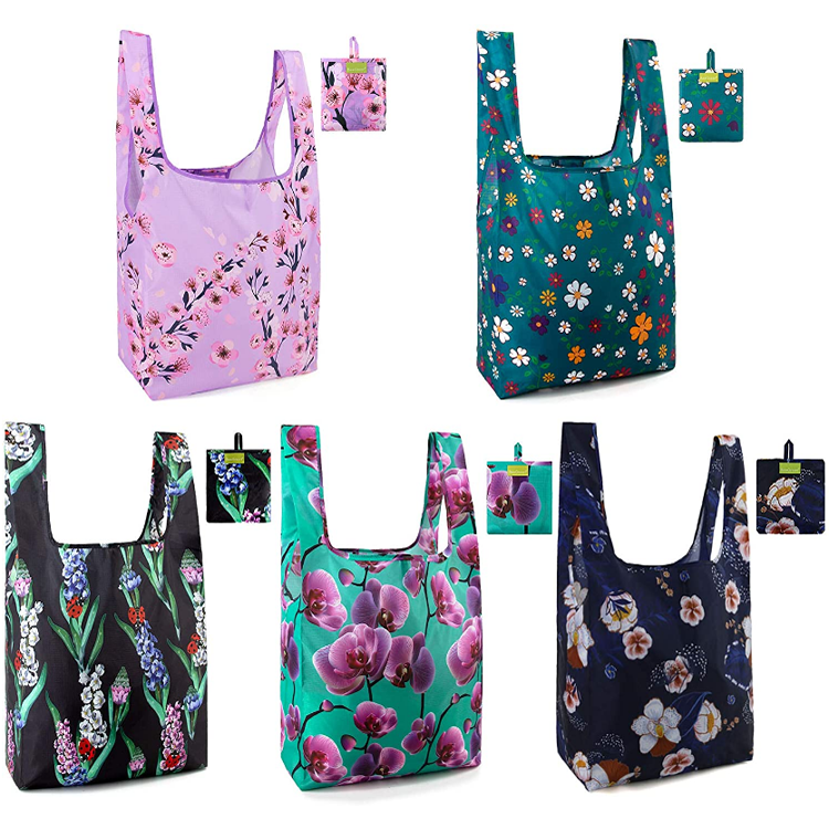 Wholesale custom foldable pocket tote bags printed polyester folding shopping grocery bag