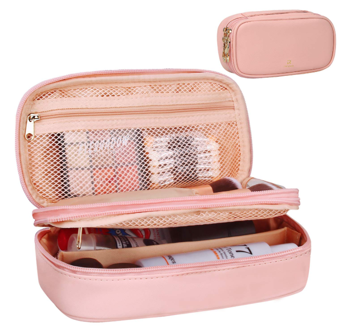 Oem PU leather Travel Cosmetic Bag for Wome Makeup Brushes set Bag Portable 2 Layer Cosmetic Case ladies makeup box