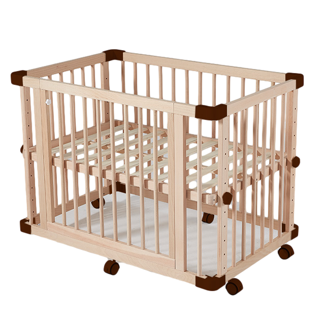 French Style Elegant Portable Baby Bed Environmental kids bedroom furniture Wooden Baby Crib