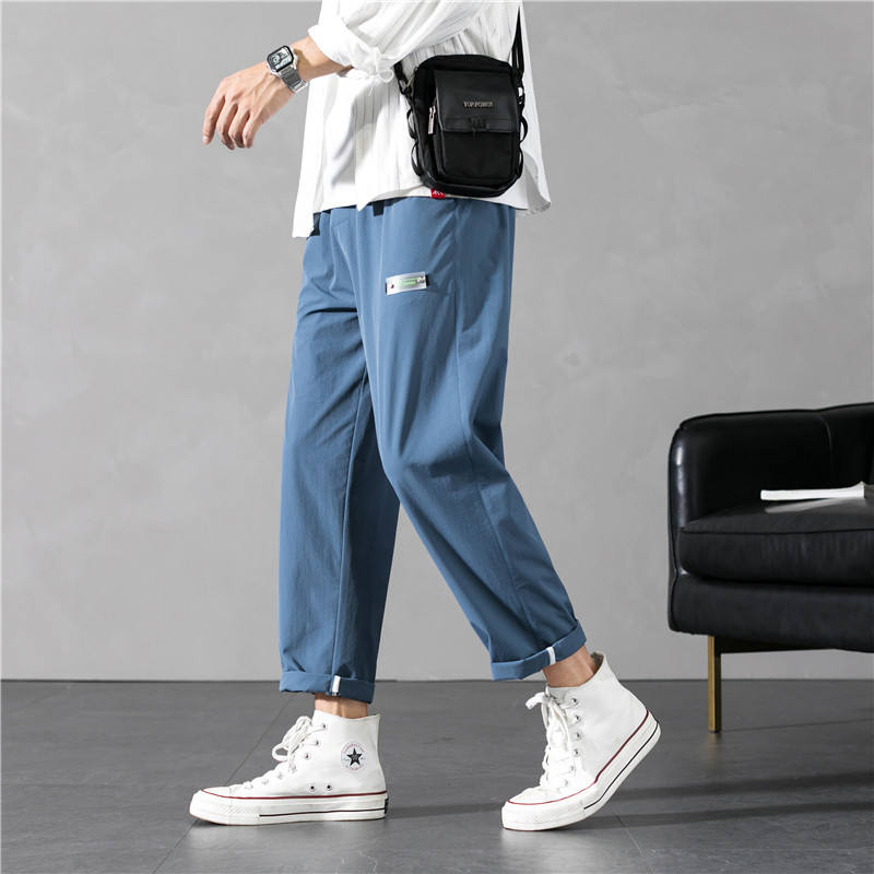 MenのSummer Thin Ice Silk Casual Loose Straight Tube Wide Leg Pants Trend Capri Pants Drape MenのPants