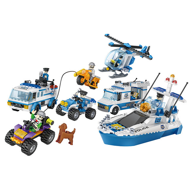 COGO Popular city police car speedboat chasing enemy helicopter puzzle building block toy set