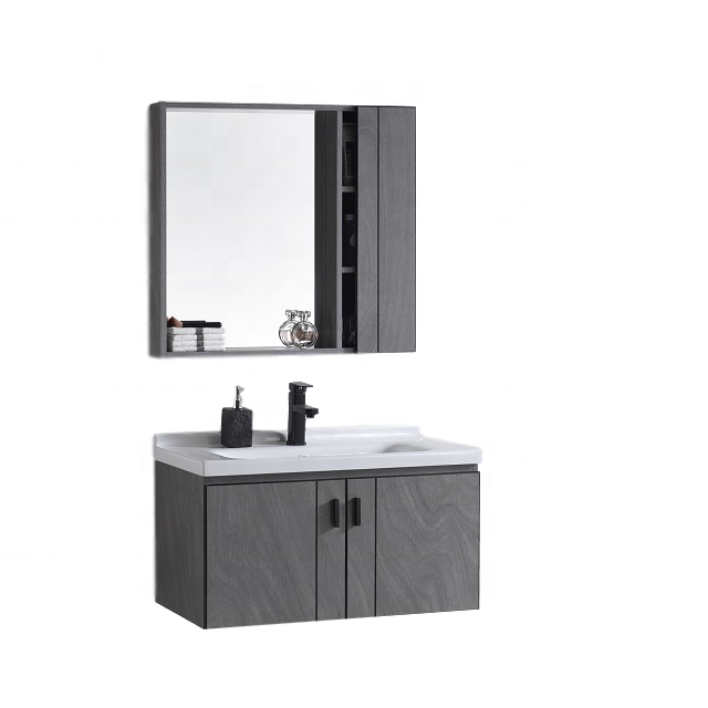2020 Hot Sale Modern Design Plywood Bathroom Vanity Cabinet In Grey Melamine Finish With Basin Mirror Set