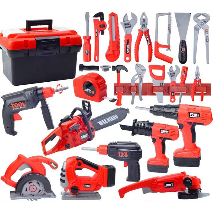 Plastic pretend play house boy game 31pcs/62pcs electric drill screwdriver repair tool box kit tool set toy for kid
