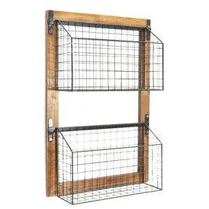 Luckywind Boerderij Rustieke Verontruste Torched Hout Metalen Draad Mand Wall Mounted Rack, Shabby Chic Home Organizer