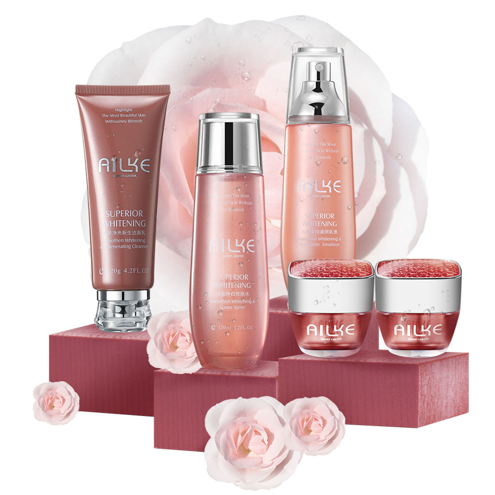 AILKE Cosmetic skin moisturizing face cream lotion black skin body alike whitening lotion lotions and creams 5 IN 1 set