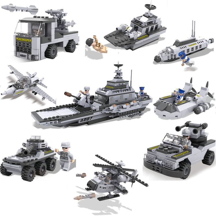 COGO Hot selling 8 in 1 Naval combat warship military combination educational building blocks set