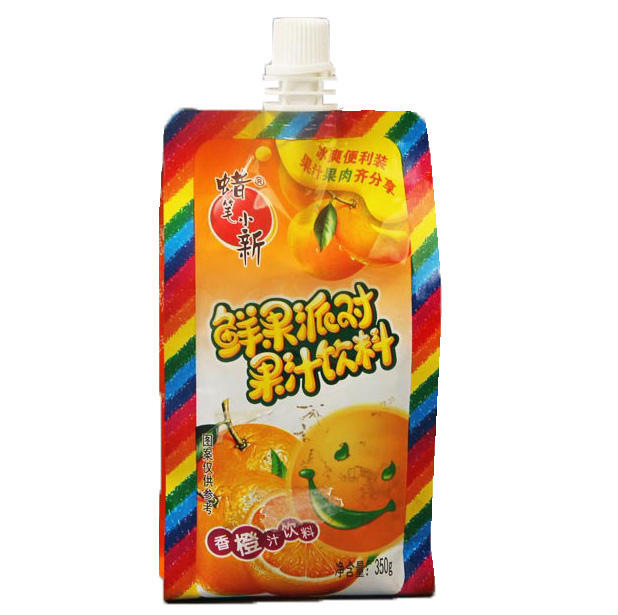 Customized Aluminum colorful water 350g side gusset sachet packaging stand up pouch with spout for juice beverage