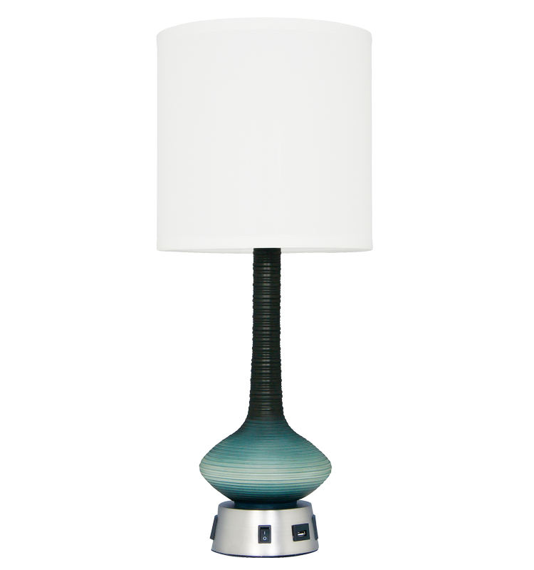 Modern Style Blue Resin Decorative Hotel Office Bedside USB Desk Lamp Table Lamp