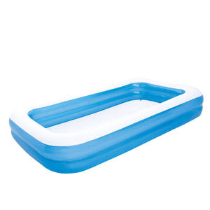 54150 305 x 183 x 46cm double rings inflatable plastic blue rectangular family swimming pool