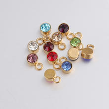 6MM Yiwu Stainless Steel Round Birthstone Charms Pendant For DIY Necklace Bracelets Jewelry Making Findings Gold Plated Jewelry