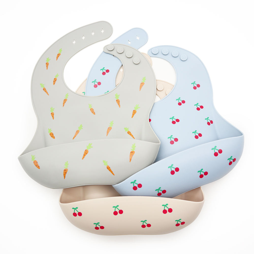 Custom Organic Disposable Waterproof Detachable Food Feeding Toddler Silicone Baby Bib