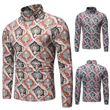 FJUN casual long sleeve warm turtle neck men all over print t shirt