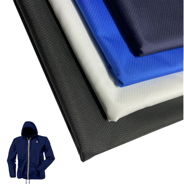 240T waterproof poly diamond ripstop pongee with milky PU coated polyester windbreaker jacket fabric for spring windbreaker