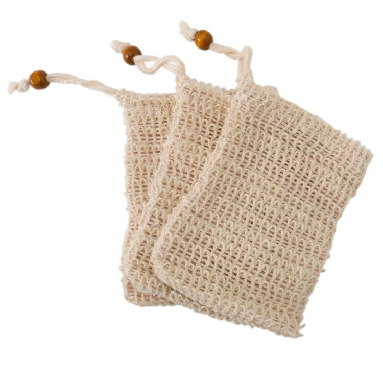 Organic Soap Saver Mesh Bag Cotton Exfoliating Soap Bags Eco Friendly, Drawstring Custom Hemp Sisal Soap Bag