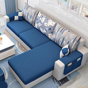 Modern Luxury Ini dengan Harga Murah Down Cushion Home Furniture Abu-abu Bingkai Kayu Sectional 5 Seater L Bentuk Sofa dan Kursi set