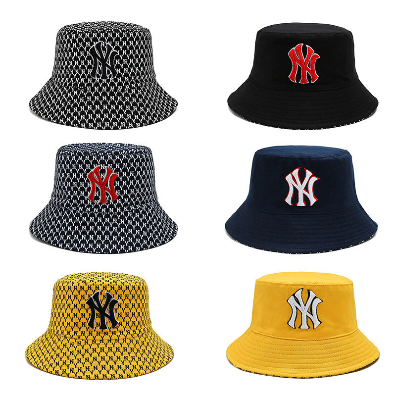 Fashionable American hot sell crochet bucket hats double sided wear colorful ny bucket hat