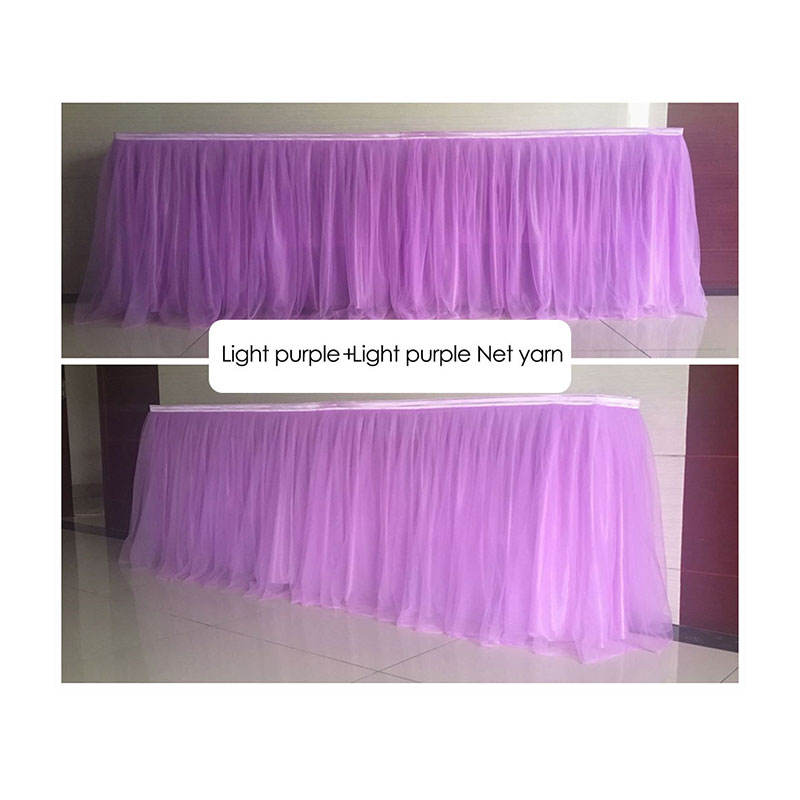 organza and ice silk ruffled table skirt wedding party decorative table skirt