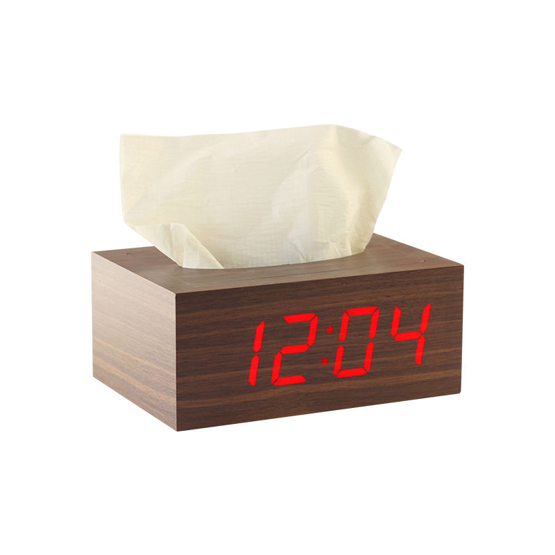 Digitaler Wecker LED Sound Control Holz Custom ized Blau Rot Grün Weiß LED Uhr Toilette Timer Uhr Elektronisches Quadrat