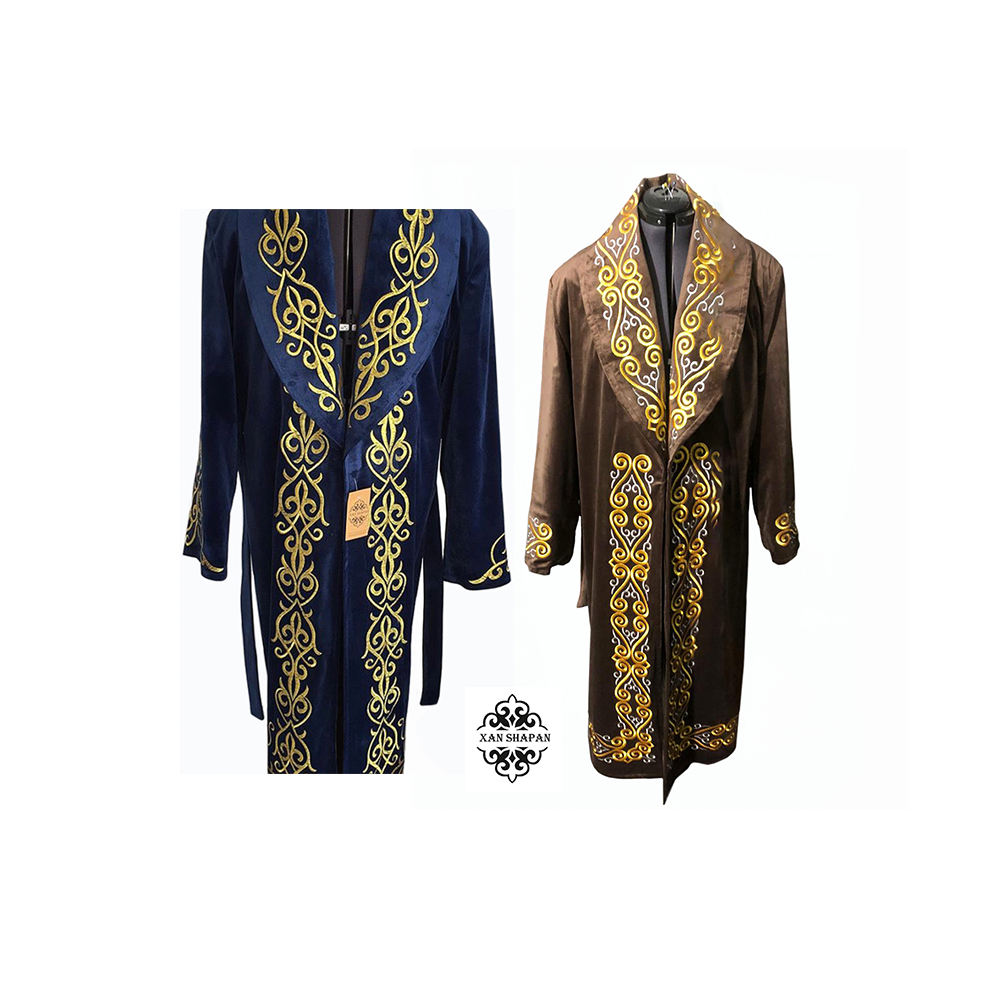 Wholesale Kazakh Long Velor Overcoat Men Clothing