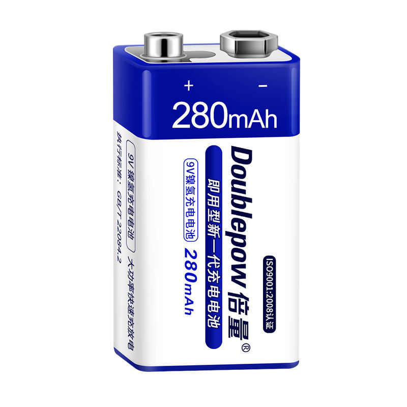 Nominal voltage 9 volt Ni-MH 280mAh Rechargeable 9v NiMH Battery for multimeter and smoke detectors