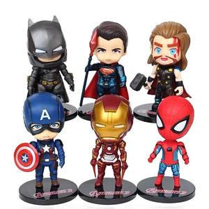 handmade hot toys cute 3d 6 superhero characters marvel action figure sets