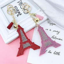 Creative Korean Velvet Rhinestone Paris Paris Eiffel Tower Keychain Pendant Bag Tassel Car Charm