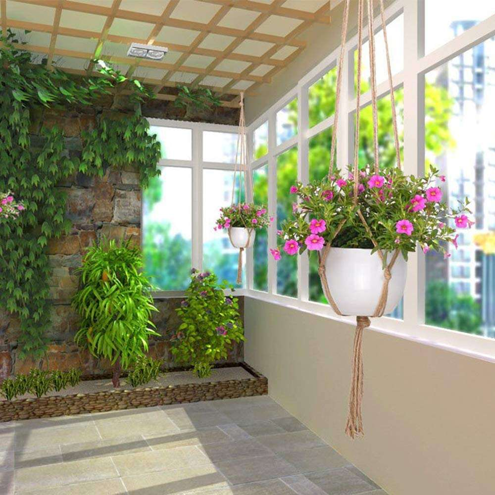 wall deco macrame plant hangers Flower Pot Plant Holder with Key Ring for Indoor Outdoor Decorations