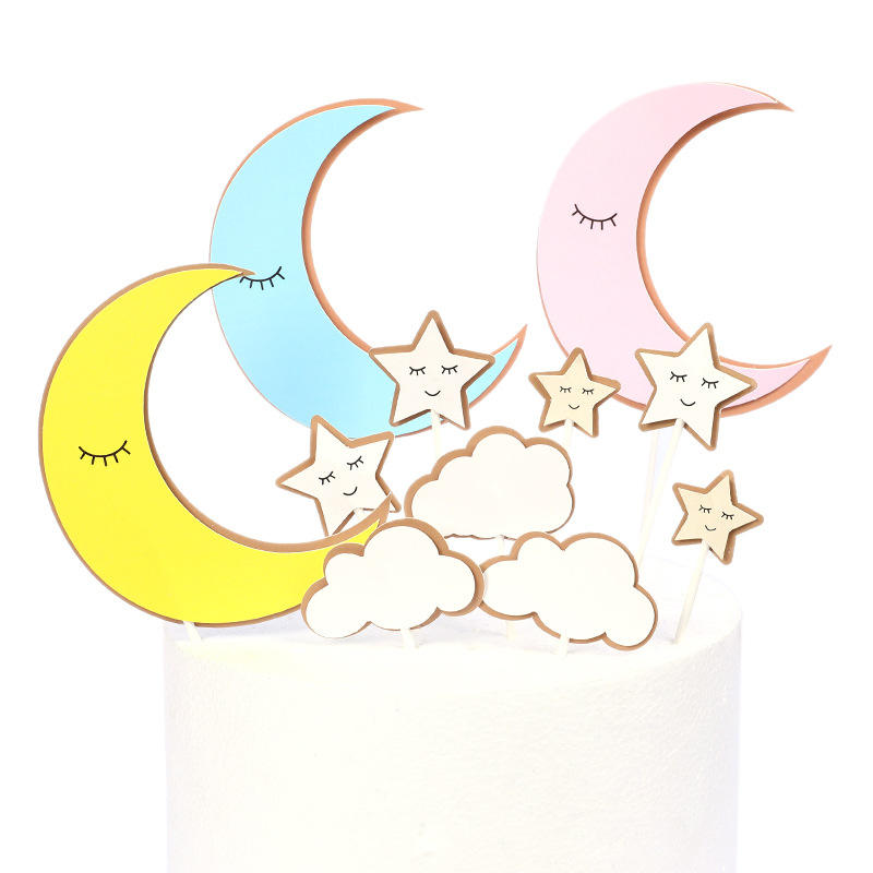Hot Selling Birthday Party Cupcake Decorating Set Reusable Cute Colorful Moon Star Cloud Suit Cake Topper