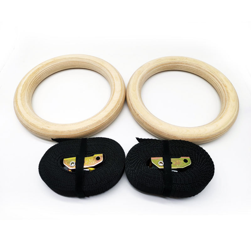 Adjustable Strap Core Strength Exercise Gymnastic Wooden Gym Rings