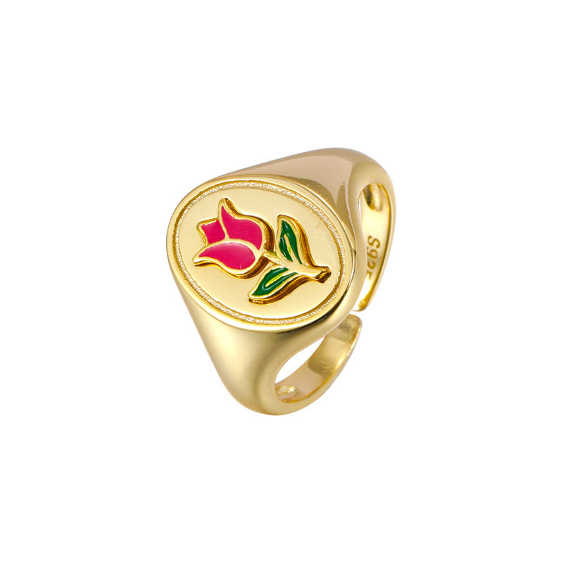 Trendy women fashion Jewellery rose follower 925 Sterling Silver gold plated ring